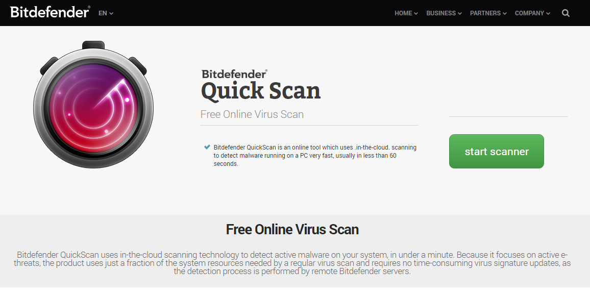 Bitdefender Quick Scan